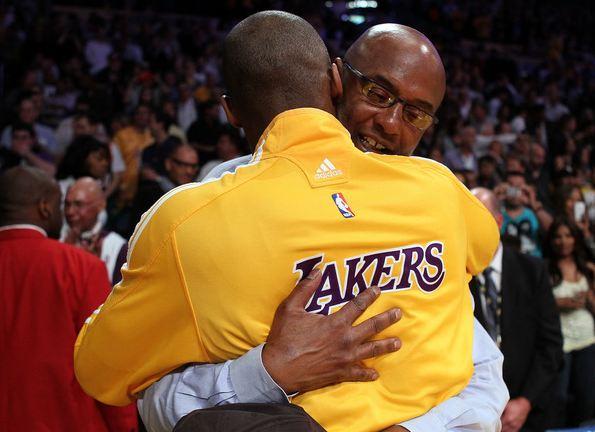 Kobe Bryant embraces his dad Joe Jelly Bean Bryant